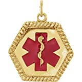 14K Yellow Gold 25x20.5mm Engravable Medical I.D. Pendant with Jump Ring