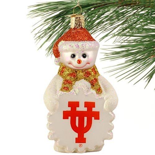 NCAA Texas Longhorns Glass Snowman Ornament