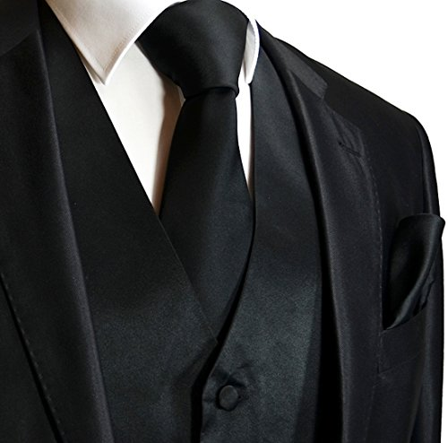 Black Vest Set - Brand Q Men's Tuxedo Vest, Tie & Pocket Square Set-Black-2XL