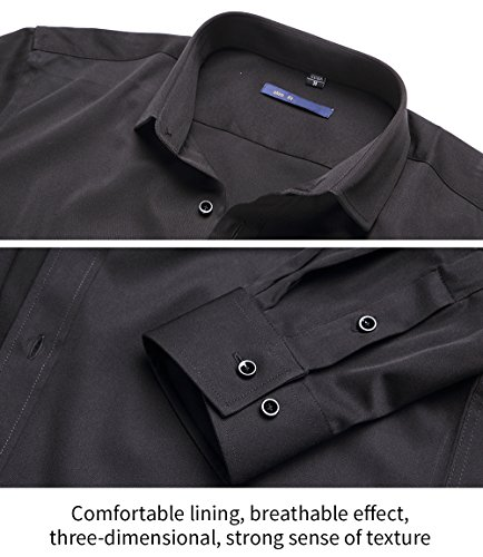 Men's Slim Fit Solid Point Collar Fashion Shirt Long Sleeves Bamboo Fiber Dress Casual Shirts ElasticBlack15″ Neck 32″ SleeveTag 38
