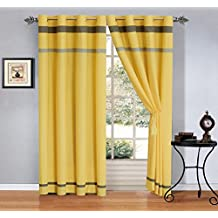 "Modern 4 - Piece Yellow / Grey / Off-White Grommet curtain set Drapes / Window Panels 120"" Wide X 84"" Tall"