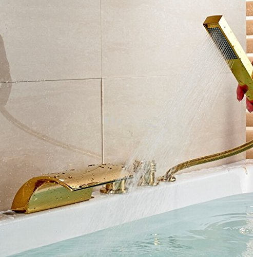 GOWE LED Color Chaning Waterfall Bathroom Tub Faucet 3 Handles Sink Mixer Tap Golden 1