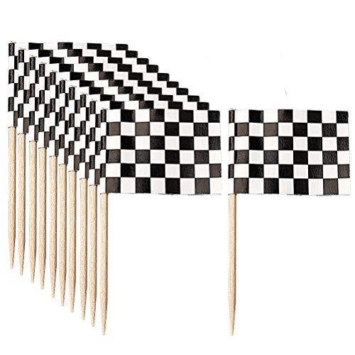 (HSAN 100 Pack Flag Cupcake Picks,Checkered Racing Flag Cupcake Toppers Picks Flags Cake Toppers Party Picks Toothpick Cupcake Toppers for Party Cake Food )