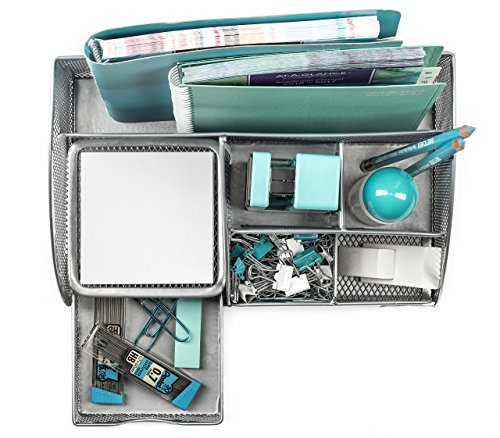 Mindspace Office Desk Organizer with 6 Compartments + Drawer + Pen & Pencil Holder   The Mesh Collection, Silver by Mindspace (Image #5)'