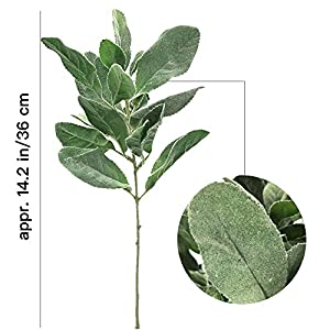 Aisamco 6 Pcs Artificial Flocked Lambs Ear Leaf Spray Rabbit Ear Leaf in Silver Green Fake Plants Artificial Greenery Wedding Bouquet Artificial Plants Green Leaf Floral Arrangement 2