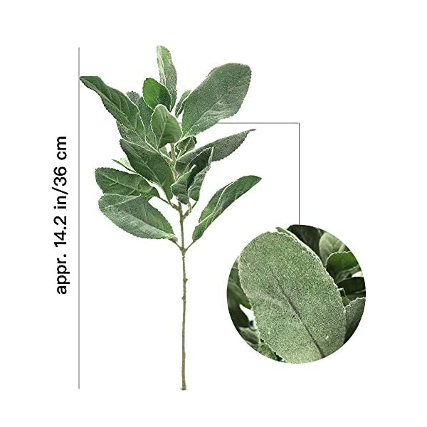 Aisamco-6-Pcs-Artificial-Flocked-Lambs-Ear-Leaf-Spray-Rabbit-Ear-Leaf-in-Silver-Green-Fake-Plants-Artificial-Greenery-Wedding-Bouquet-Artificial-Plants-Green-Leaf-Floral-Arrangement