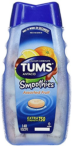 Tums Antacid Smoothies Assorted Fruit - 5Pack (250 Tablets Each ) M$Edbks