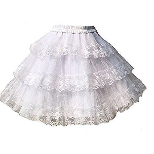 TanQiang Vintage Sweet White/Black Cosplay Skirt Three Layer Lace Gothic Lolita Petticoat Tutu Skirt (White) ()