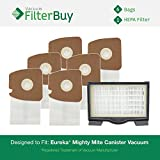 Eureka Mighty Mite Canister Vacuum Kit, 1 HF8 (HF-8) HEPA Filter & 6 Eureka Type MM High Efficiency Allergen Bags. Designed by FilterBuy to replace Eureka part #s 60666, 60297A, 60295, 60296 & 60297.