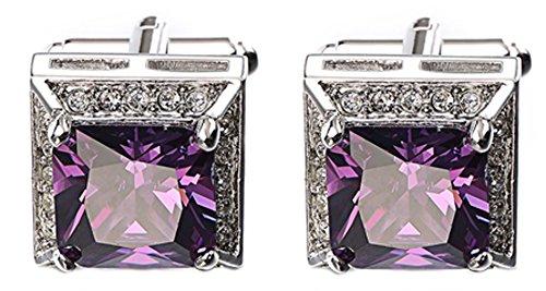 (Amethyst Purple Swarovski Crystal Gem Stone Mens Wedding Gift Cuff links Cufflinks (Cufflinks With Gift Bag))