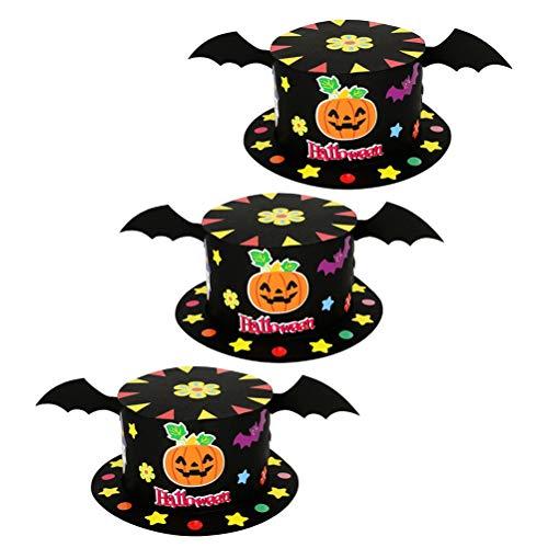 Amosfun Halloween Party Hats 3pcs Pumpkin Bat Wing Flat Hat Kids DIY Paper Top Hat for Halloween Costume Accessories]()