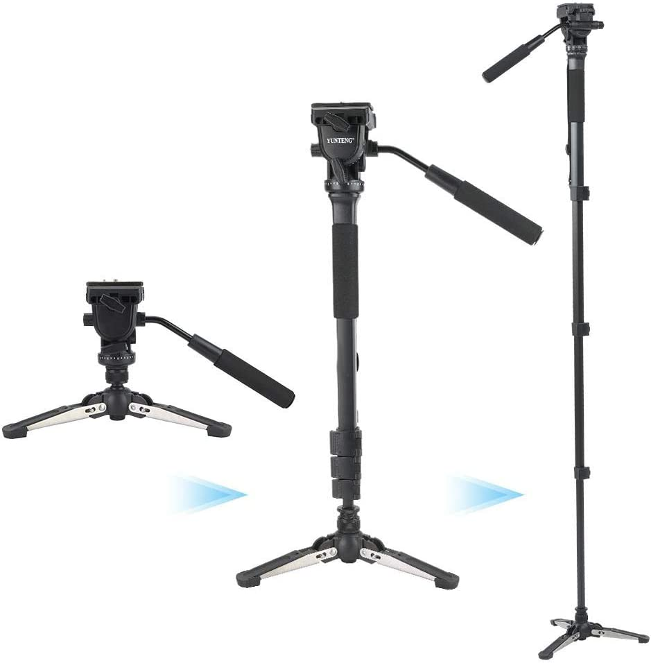 Tripod Adjustable Aluminum Alloy Tripod Holder Professional with Fluid Pan Head Stand Tripod Video Tripod Travel Portable Monopod Camera with Storage Bag for DSLR