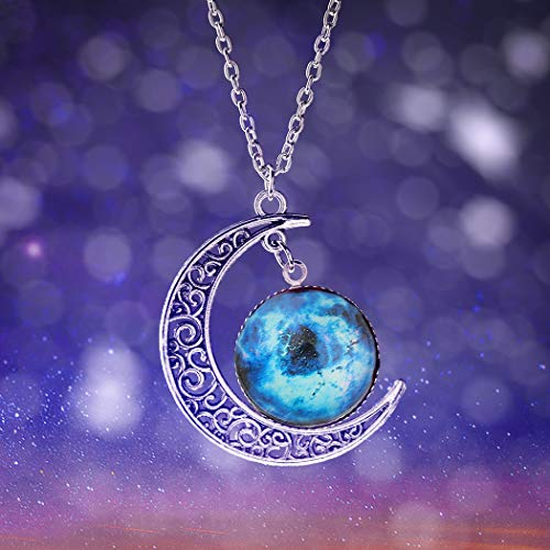 Barogirl Moon Pendant Necklace Galaxy and Cosmic Charm Crystal Necklaces Gift Jewelry for Women and Men (Style C) ()
