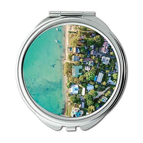 Mirror,makeup mirror,aerial architecture beach,pocket mirror,portable -