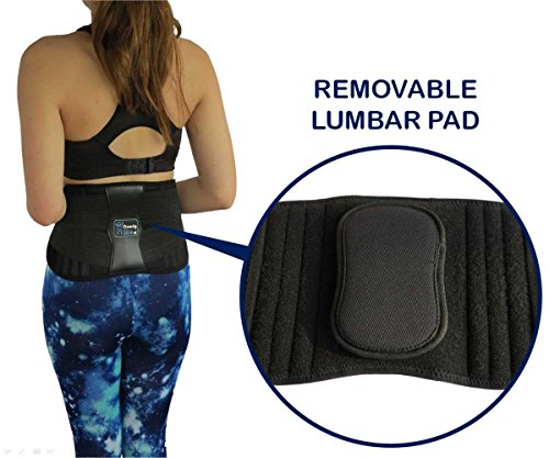 ComfyMed Premium Quality Back Brace CM-102M with Removable Lumbar Pad for Lower Back Pain Relief (REG 26-37 Belly)