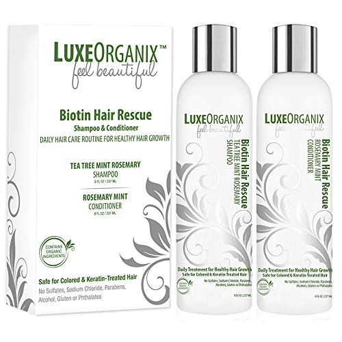 Biotin Shampoo And Conditioner for Hair Growth; Soothes Dry Itchy Scalp With Tea Tree Mint Rosemary Oils. Natural Daily Hair Treatment. Anti Dandruff Sulfate & Paraben Free, Keratin & Color Safe (USA) -
