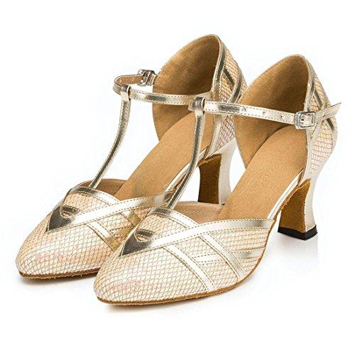 Heel Comfort Ballroom Gold Strap Mid Salsa Dance Glitter Women's Wedding Synthetic Latin 7cm Shoes T Heel TDA ZfwnRTq15