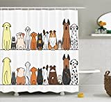 Dog Lover Decor Shower Curtain by Ambesonne, Multicultural Dog Family in a Row from Back and Front Views Companionship Comic Art, Fabric Bathroom Set with Hooks, 84 Inches Extra Long, Yellow and Brown