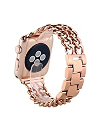 Apple Watch Band 38mm, LONTECT Premium Stainless Steel Cowboy Style Bracelet Watch Band Strap for 38mm Apple Watch Series 1 and Series 2 - Rose Gold