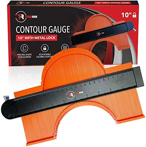 Contour Gauge Shape Duplicator – 10 Inch Profile Tool With Lock And Ruler – Corner Measuring Template Offers Shape Locking Duplication – Make Perfect Cuts for Woodworking, Flooring, and DIY Jobs