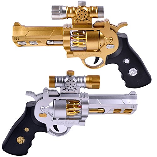 Gold Shotgun - Berry President(TM Electric Projection Projector Vibrating Gun, Cartoon Projection In Night, Play Shotgun Toys For Boy