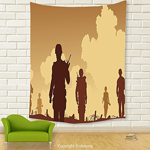 Vipsung House Decor Tapestry_War Decor Soldier Shadows With Military Costumes And Weapons Walking On Patrol Print Brown Cream_Wall Hanging For Bedroom Living Room (Marilyn Manson Halloween Costumes)