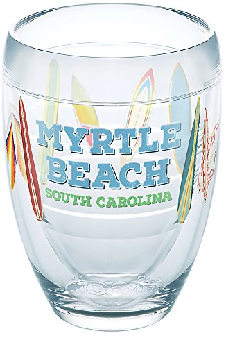 Tervis 1269320 South Carolina - Myrtle Beach Surfboards Tumbler with Wrap 9oz Stemless Wine Glass, Clear (South Wine Beach)