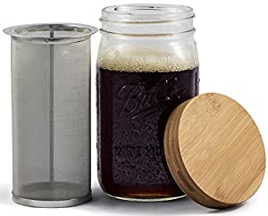 Mason Jar Cold Brew Coffee Maker & Iced Tea Maker | Quart (32oz) | Cold Brew System With Bamboo Lid & Stainless Steel Filter | by Simple Life Cycle (Bamboo, 32oz)