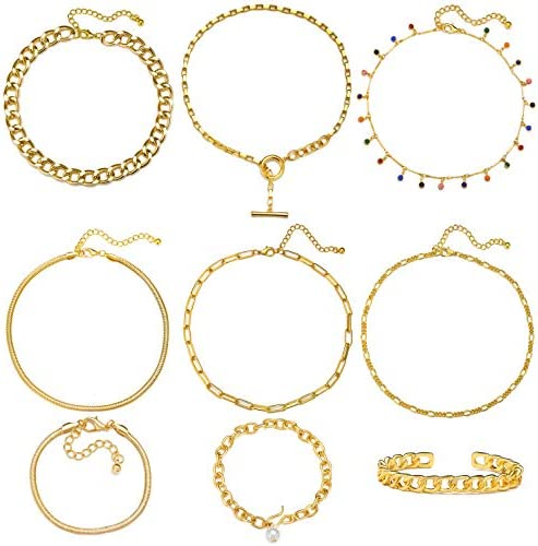 17 MILE Gold Chain Necklace and Bracelet Sets...