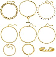 17 MILE Gold Chain Necklace and Bracelet Sets for Women Girls 14K Gold Plated Dainty Link Paperclip Choker Jew