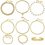 Gold Chain Necklace and Bracelet Sets for Women