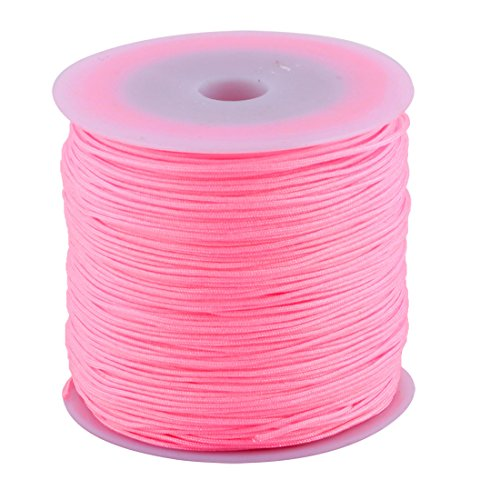uxcell Nylon Home DIY Craft Braided Chinese Knot Bracelet Cord String Rope 110 Yards (Pink Rope)