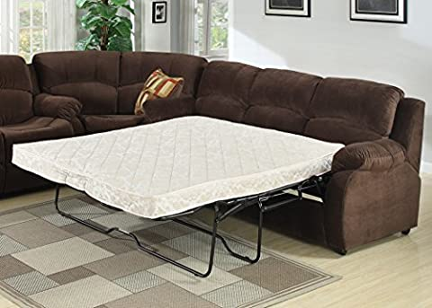 AC Pacific Tracey Collection Contemporary Transitional Tufted Queen Sofa Bed, Chocolate - Over Dual Reclining Loveseat