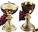 Stratford Chapel Gold Tone Dual Finish Chalice and Paten Set with Ciborium and Cover, 7 Inch