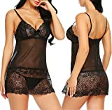 Avidlove Womens Lingerie Lace Trim Chemise Backless Babydoll Sleepwear Black S