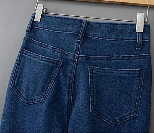 Byjia Pantalones De Pantimedias Slim Jeans Mujer Tocando Fondo Bolsillo Premium Classic Confort Ajuste Relajada Recto-Pierna deep blue