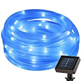 LE 5m 50 LEDs Solar Rope String Lights, Waterproof IP55, Blue, Portable, with Light Sensor, Two Light Modes, Outdoor Rope Lights for Christma