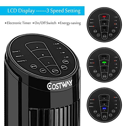 COSTWAY LCD Tower Fan Digital Cooling Fan w/Remote Control