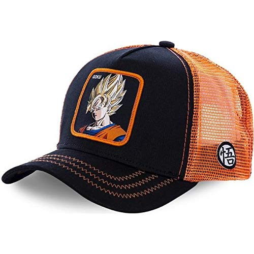 Men's DBZ Figures Anime Farm Snap Back Trucker Hat Baseball Cap Adjustable Hat (Black/Orange Mesh Goku SS1, One Size) -
