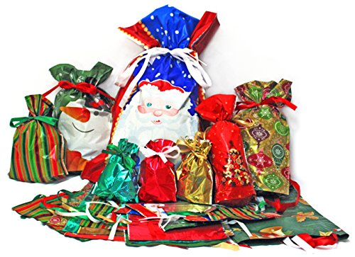Giftmate 58-Piece Drawstring Holiday Bags