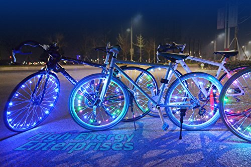 High Energy Enterprises LED BikeStrings - Bright, Flexible Wire MicroLED Light Strings - Dazzling Display - Light up Your Bike! Cast Light All Around You. Be Safe: Be Visible - Be seen!