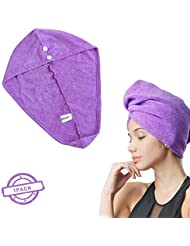 SOFTOWN Microfiber Hair Drying Towel Turban Ultra Absorbent with 2 buttons for Long Hair, 1 Pack, 11 x 28 inch, Purple