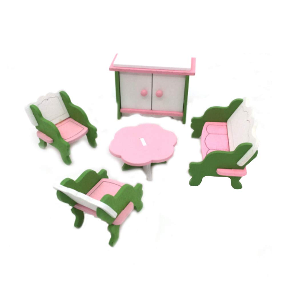 Simulation Furniture Table Doll Toy Wooden Puzzle Jigsaw Toys Educational Pretend Playset Simulated Home Children's Toys(Living Room, 5Pcs) DierCosy