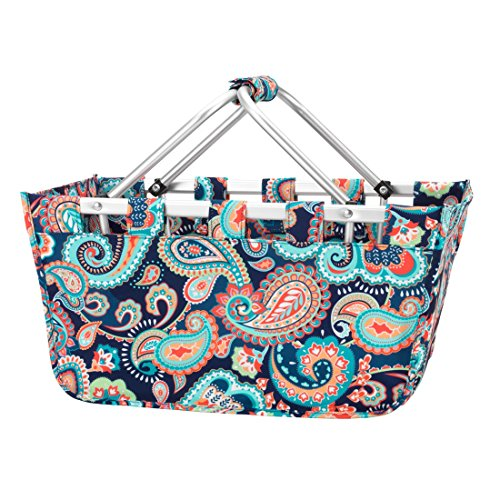 Fashion Print Aluminum Frame Collapsible Design Utility Market Tote - Personalization Available! (Paisley - Blank)