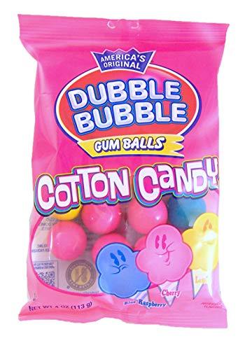 Dubble Bubble Cotton Candy Gum Balls, 4 Ounce, Pack of 3