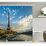Ambesonne Eiffel Tower Decor Collection, Sunset over Eiffel Tower and Seine River with Puffy Clouds Paris France Nature Scene, Polyester Fabric Bathroom Shower Curtain, 84 Inches Extra Long, Blue