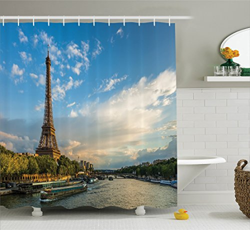 Eiffel Tower Shower Curtain Set Paris Decor by Ambesonne, Sunset Over Eiffel Tower And Seine River With Puffy Clouds, Paris, France Nature Scene, Bathroom Accessories, 69W X 70L - In France Sunset Time Paris