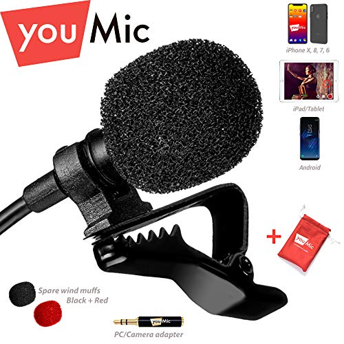 Lavalier Lapel Microphone with Easy Clip On System - Perfect for Recording Youtube Vlog Interview/Podcast - Best Lapel Mic for iPhone 5, 6, 6s, 7, 7 plus, 8, X iPad iPod Android Mac PC ASMR