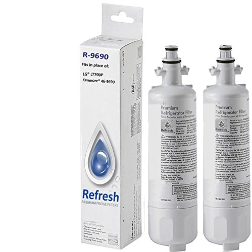 2x Kenmore 46-9690 / LG LT700P, ADQ36006101 Compatible Refrigerator Water Filter - fits for Kenmore 9690, ADQ36006102 & LG Refrigerator Water Filters by Refresh 2 Pack