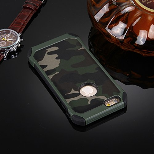 Phone Taschen & Schalen Für iPhone 6 Plus & 6s Plus Camouflage Muster Shock-resistent Tough Armor PC + Silikon Kombination Fall ( Color : Green )